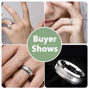 Image 5 - Newshe Anillo de boda de carburo de tungsteno para hombre, sortija, 8mm, tamaño 9 12, AAA, zirconio, Blanco redondo, joyería TRX050