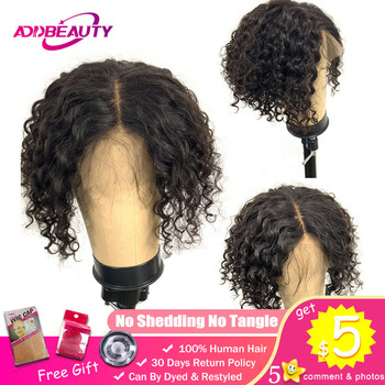 Addbeauty Short Natural Black Brazilian Remy Human Hair L Middle Part 13x4 Lace Front Wigs For Black Women Kinky Curly Wave Wig цена 2017