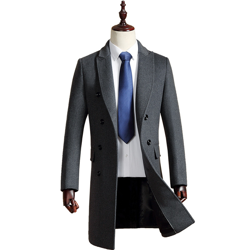 Men's Casual Wool Coat 2019 Winter New Luxury High Quality Thick Warm Business Gentleman Youth Double Breasted Slim long Coat
