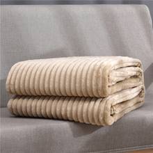 Beddowell Soft Fluffy Striped Flannel Blankets For Beds Solid Coral Fleece Throw Winter Bed Linen Sofa Cover Bedspread Blankets
