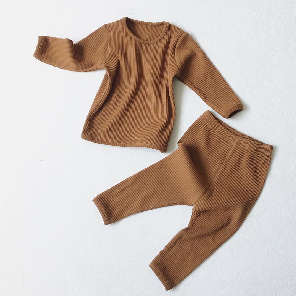 Kids Pajamas Sets For 1-8Y Children Lounge Wear For Boys Girls Full Sleeve Autumn Winter Baby Tops + Pants Girls Boys Sleepwear 5