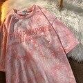 Женская футболка с вышитыми буквами, повседневная короткая футболка большого размера с милым принтом в стиле ретро, y2k, лето