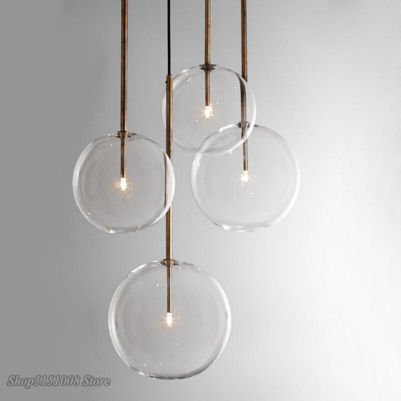 נורדי ברור זכוכית תליון אורות גלוב כרום זכוכית כדור תליון מנורת חדר אוכל מטבח תליית מנורת בית תפאורה אור קבועה