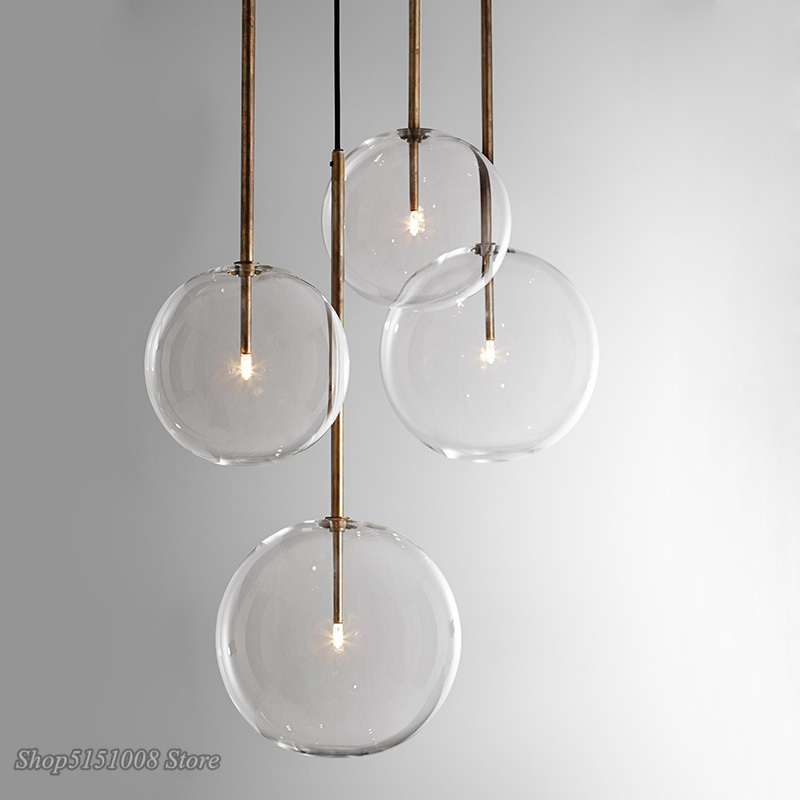 Nordic จี้แก้วใสไฟโลก Chrome Glass Ball โคมไฟห้องอาหารห้องครัวแขวนโคมไฟ Home Decor โคมไฟ