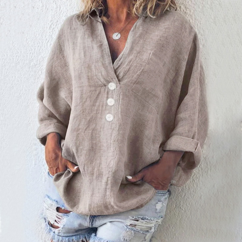 JODIMITTY Women Loose Solid Blouse Casual V Neck Long Sleeve Torridity Women Blouse Shirt Cotton Linen Pocket Blusa Plus Size
