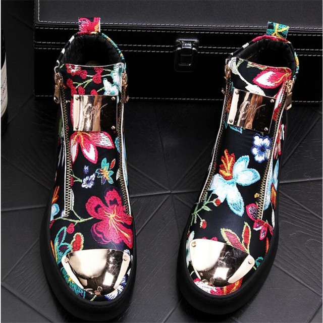Zapatos bordados de estilo británico para hombre, zapatillas de lujo informales de goma inferior, color dorado y rojo, alta calidad, 2019 3