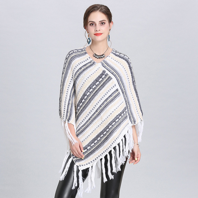 Autumn and winter new Women Loose tassel Poncho cloak shawl V-neck oblique striped pullover Knitted pullover female 4