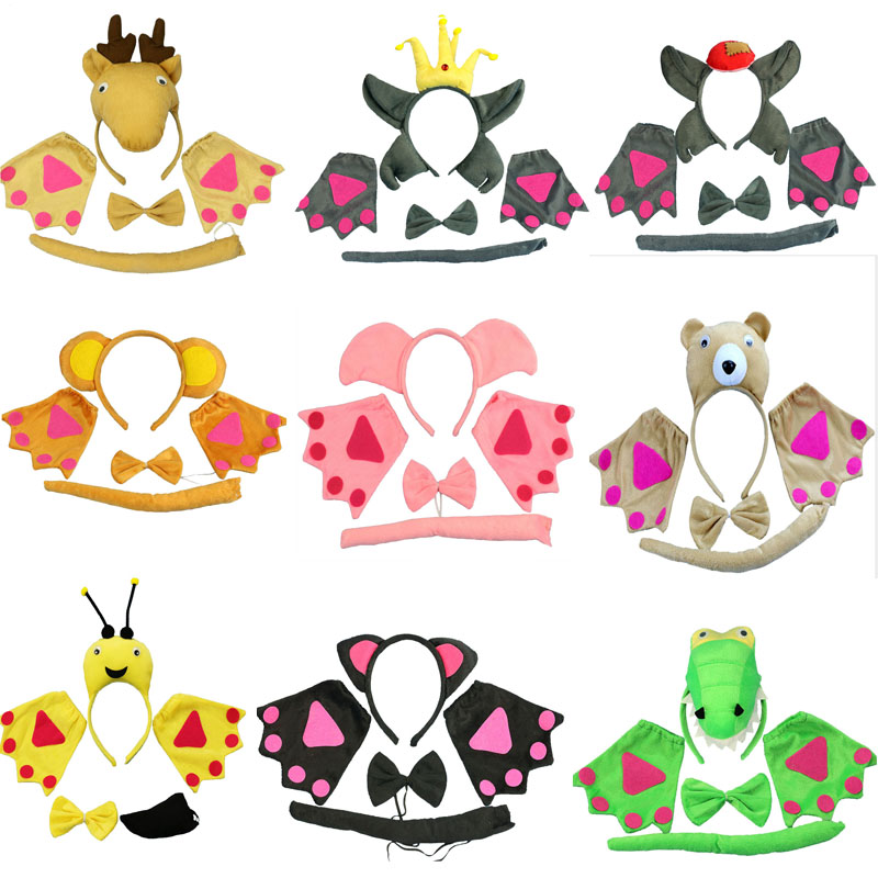 Children Adults Animal Headband Bow Tie Tail Paws Gloves Cat Wolf Cosplay Costume Set Carnival Party Dress Up Decor Halloween