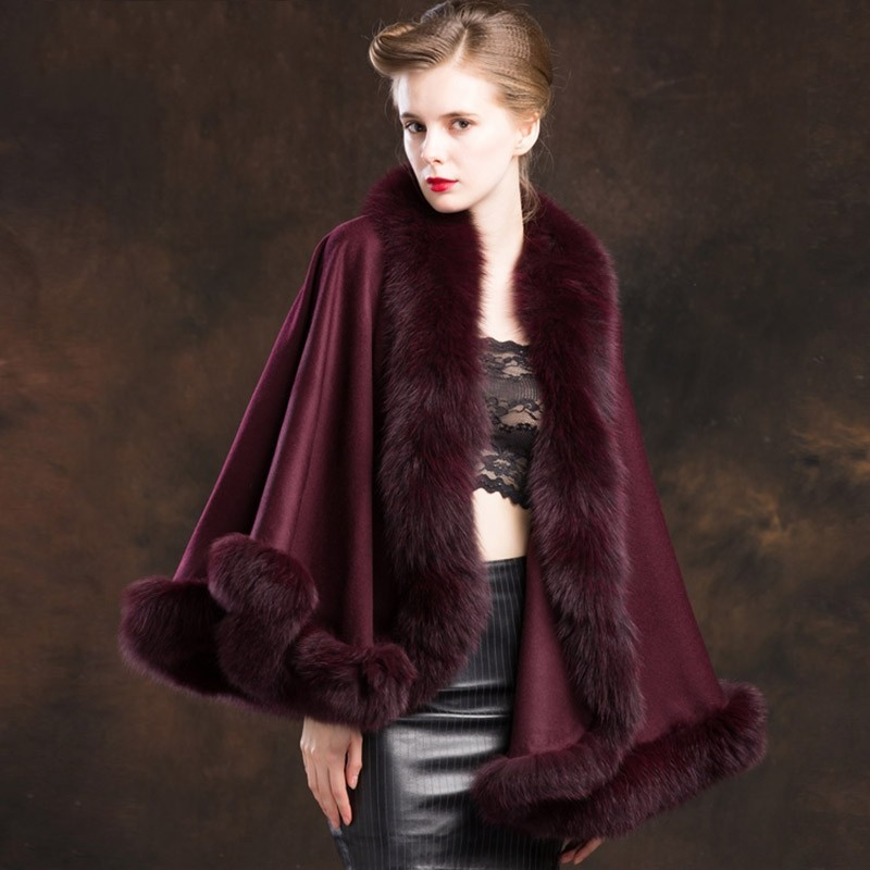 2020 New Women Fox Fur Collar Cashmere Cloak Outerwear Natural Wool Wraps Cape Lady Elegant Luxury Party Wedding Shawl Jacket