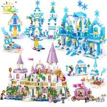 HUIQIBAO 5 ב 1 נסיכי וינדזור טירת דגם אבני בניין חבר תובלה דמויות צעצועים חינוכיים בית לבנים ילדה ילדים