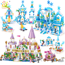 HUIQIBAO 5 in 1 Princes Windsor Castle Model Building Blocks Friend Carriage Figures Educational Toys House Brick Girl Children