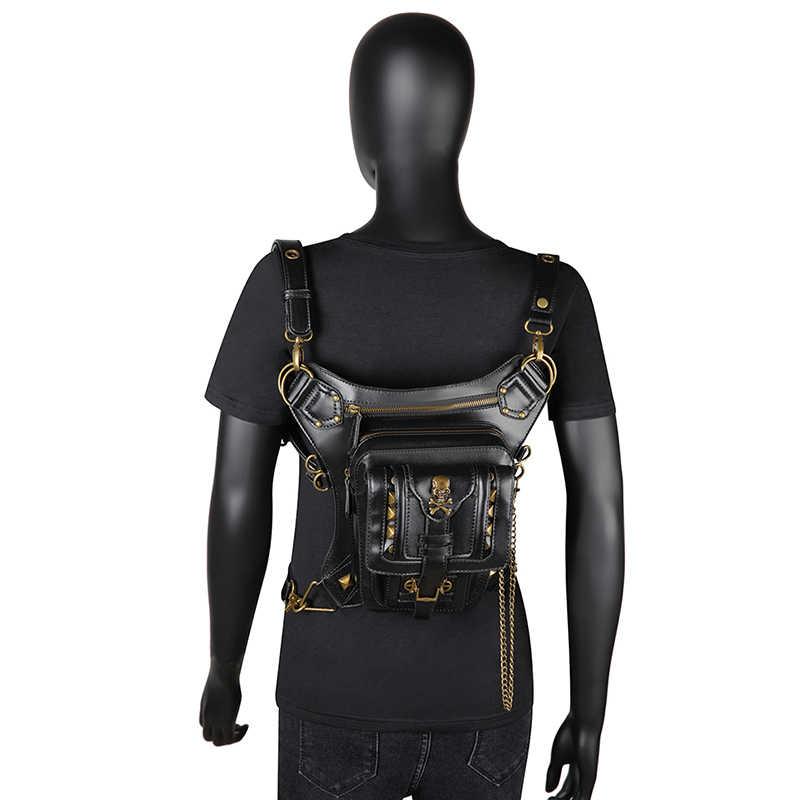 Frauen PU Leder Taille Tasche Motorrad Drop Bein Fanny Pack Hüfte Gürtel Telefon Beutel Weibliche Messenger Schulter Crossbody-tasche 2020