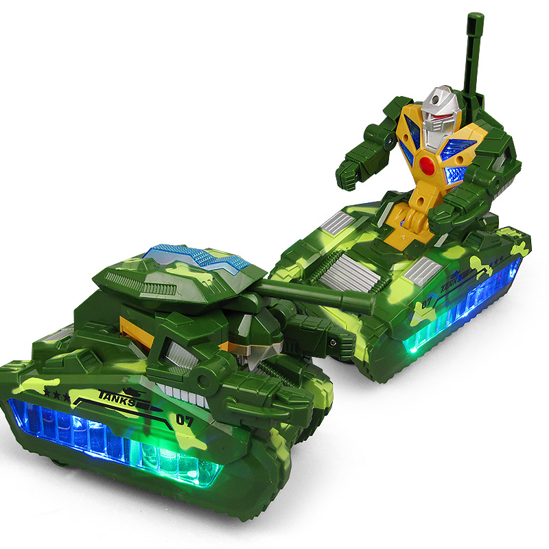 Electric Transformation Tank Universal Rotating Light Music Electric Toys Variable Robot Military Series Toy Model