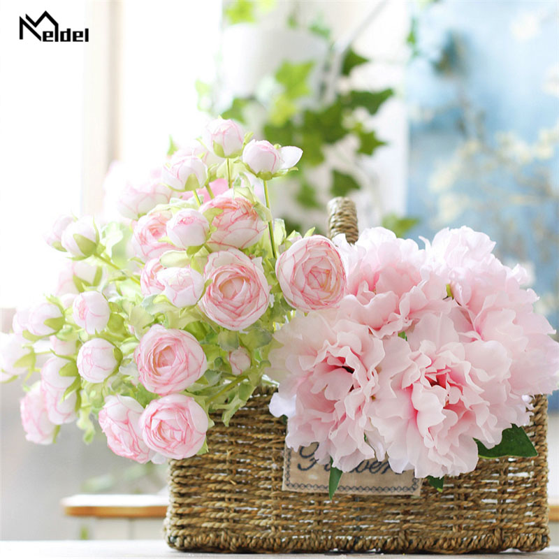 White Silk Artificial Rose Peony Flowers Bouquet 5 Heads Bridal Bouquet Flowers For Wedding Small Craft Fake Flowers Home Decor