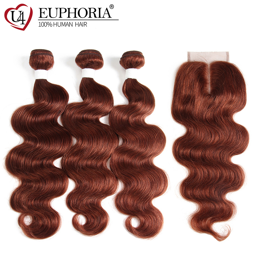 Body Wave Human Hair 3 Bundles With Lace Closure 4x4 Euphoria Brazilian Auburn Brown Color 100% Remy Bundle Hair With Closures