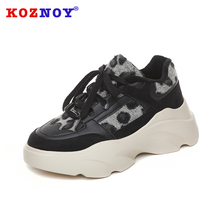 Koznoy Sneakers Women Spring Autumn Fashion Thick Bottom Dropshipping Breathable Leopard Mixed Colors Leisure Shoes