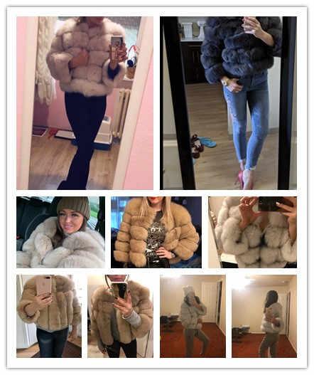 Frauen Warme Echt Fuchs Pelz Mantel Kurze Schlanke Winter Echte Pelz Jacke Mode Outwear Luxus Natürliche Fuchs Pelz Mantel Für mädchen FC-034
