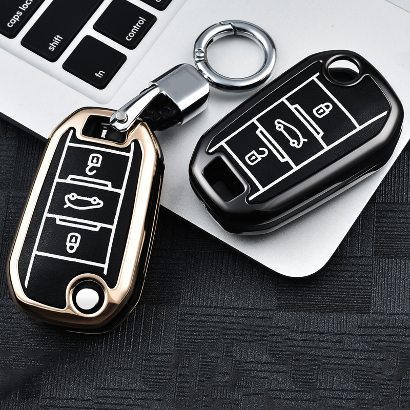 Luminous leather Car Remote <font><b>Key</b></font> Case <font><b>Cover</b></font> For <font><b>Peugeot</b></font> 301 308 308S 408 2008 3008 4008 <font><b>5008</b></font> Citroen C4 C6 C3-XR Car Accessories image