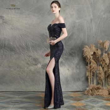 prom dresses 2019 black mermaid elastic party dress sexy split vestidos de gala boat neck long prom gown 3