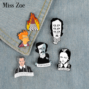 Movie Role Enamel Pin Brooch Writer Edgar Allan Poe Wednesday Fry Badges Clothes Lapel pin cap bag Creative Fun Jewelry(China)