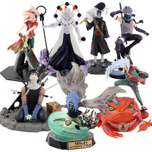 Naruto shippuden hatake kakashi uchiha sasuke madara obito sasura itachi com corvos jiraiya hoshigaki figura de ação modelo brinquedos
