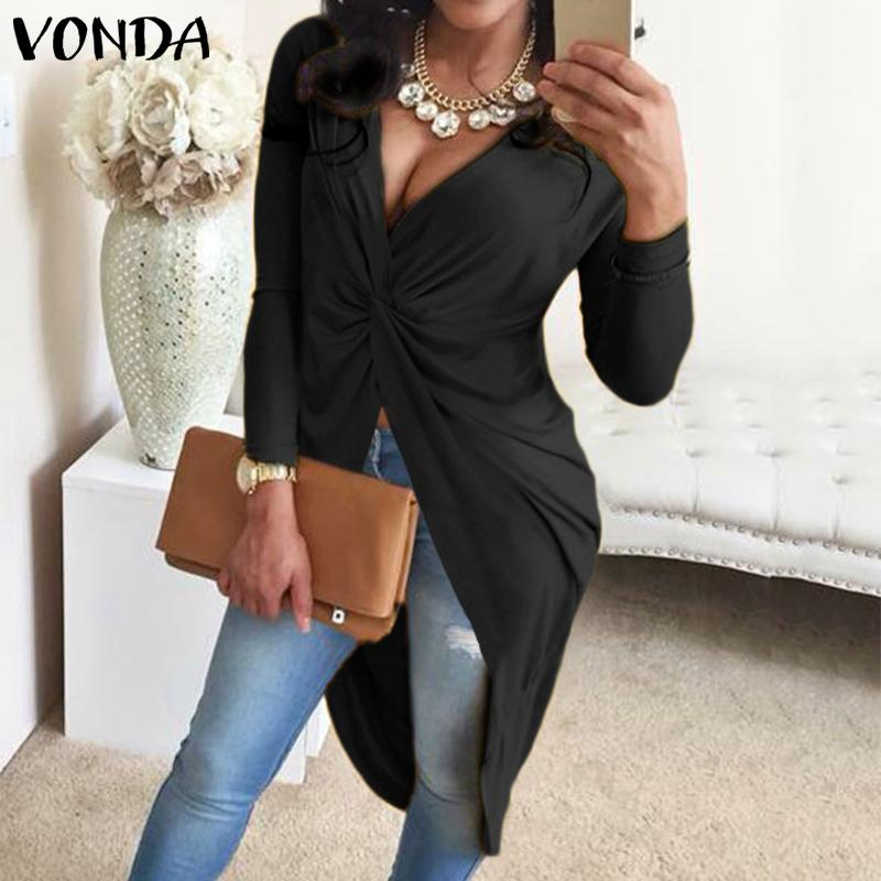 VONDA Asymmetrical Blouse WomenTunic Female Party Long Blouse 2019 Spring Autumn Casual Tops Women Sexy Club Shirts Plus Size