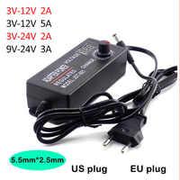 Adjustable Adapter AC 100-220V to DC 3V-12V 3V-24V 9V-24V 2A 3A 5A power Supply plug LED Driver display adaptor led strip light