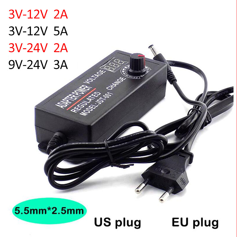 Adjustable <font><b>Adapter</b></font> AC 100-220V to DC 3V-12V 3V-<font><b>24V</b></font> 9V-<font><b>24V</b></font> 2A 3A 5A power Supply plug LED Driver display adaptor led strip light image