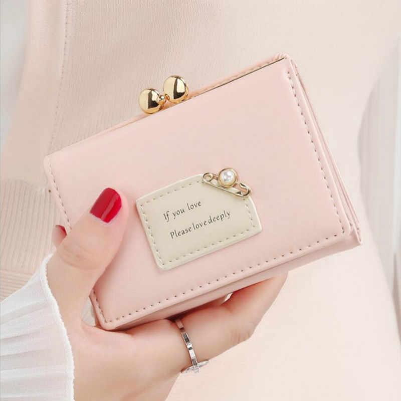 Cartera multifunción para mujer diseño corto de moda triple monedero Simple lindo estudiante titular de la tarjeta de embrague monedero 2020