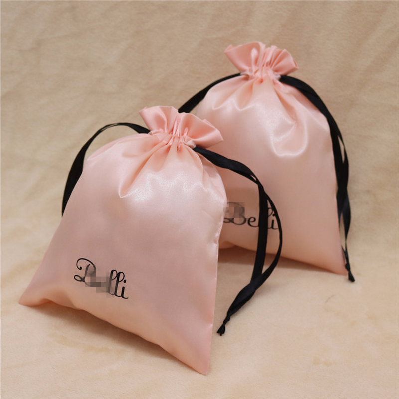 Satin Drawstring Bags Jewelry/Makeup/Gift/Wedding/Party/Storage/Hair Bundle/Wig/Shoe Bags Silk Cloth Pouch Custom Logo Print 100