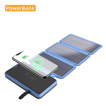 Solar Power Bank Wireless Charger Waterproof Quakeproof Dustproof for Xiaomi Iphone Dermatoglyphic Folding Panel 20000mah