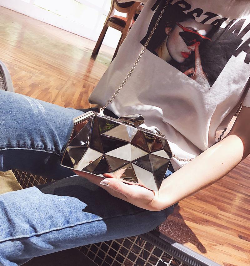 Hexagon Women Handbags Metal High Quality Clutches Fashion Geometric Mini Party Black Evening Purse Silver Bags Gold Box Clutch (9)