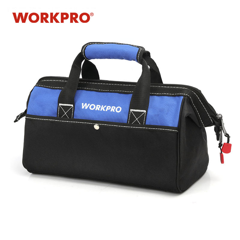 "WORKPRO 13"" Close top Wide Mouth Storage Bag 600D polyester Waterproof Tool bag Travel Bags Men Crossbody Bag 2018 new style