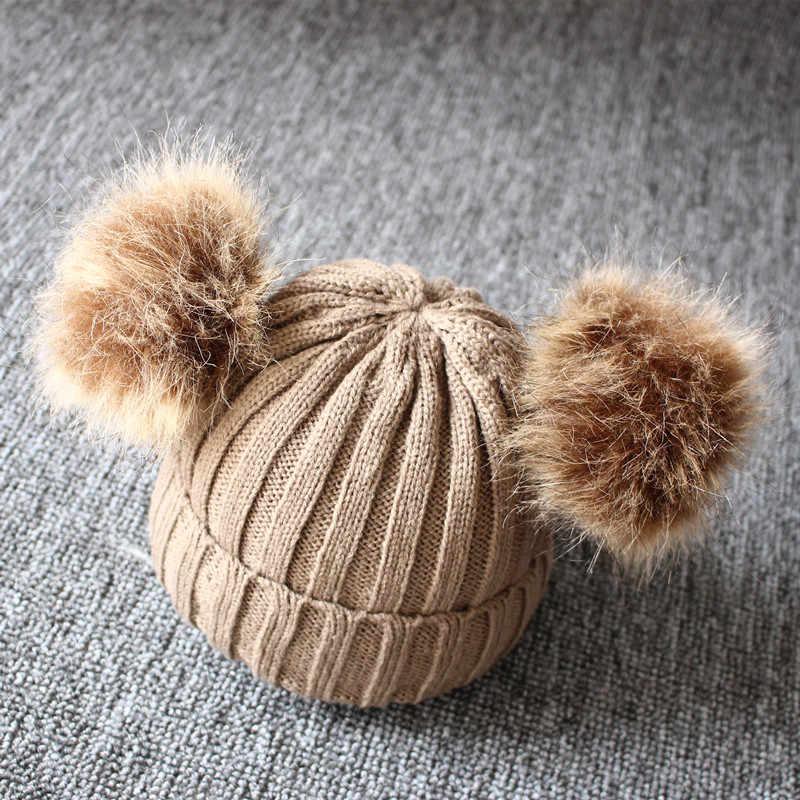 REAKIDS เด็กน่ารักฤดูหนาวหมวกถักฤดูหนาวที่อบอุ่นหมวกเด็กทารกแรกเกิดหมวกเด็กสำหรับสาวฝ้ายเด็กหญิงหมวกเด็กหมวก