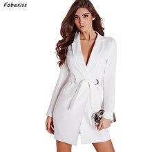 Belted Long Blazer Woman Pure White Deep V Neck Office Lady Jacket Elegant High Waist Slim Coat Fashion Autumn 2019 Plus Size