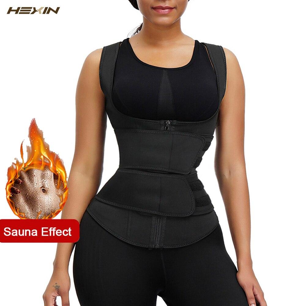 HEXIN Women Waist Trainer Vest Neoprene Belt 9 Steel Bones Cincher Body Shaper Tummy Control Slimming Sweat Fat Burning Girdle