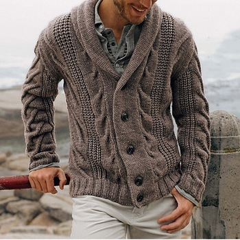 Button Up Sweater Coat Autumn Men Clothing Oversized Knitted Sweater Cardigan Vintage Sweater Jacket Ribbed Tricot Overcoat image