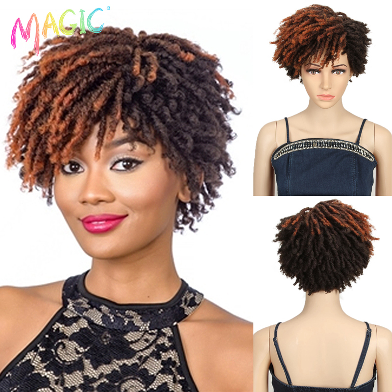 Волшебный 10 дюймовый афро кудрявый парик синтетический короткий парик дредов с челкой Омбре черный светлый вязаный парик для черных женщин
