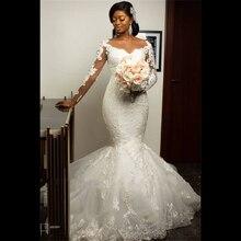 Модные Африканские свадебные платья с юбкой годе кружевные длинным