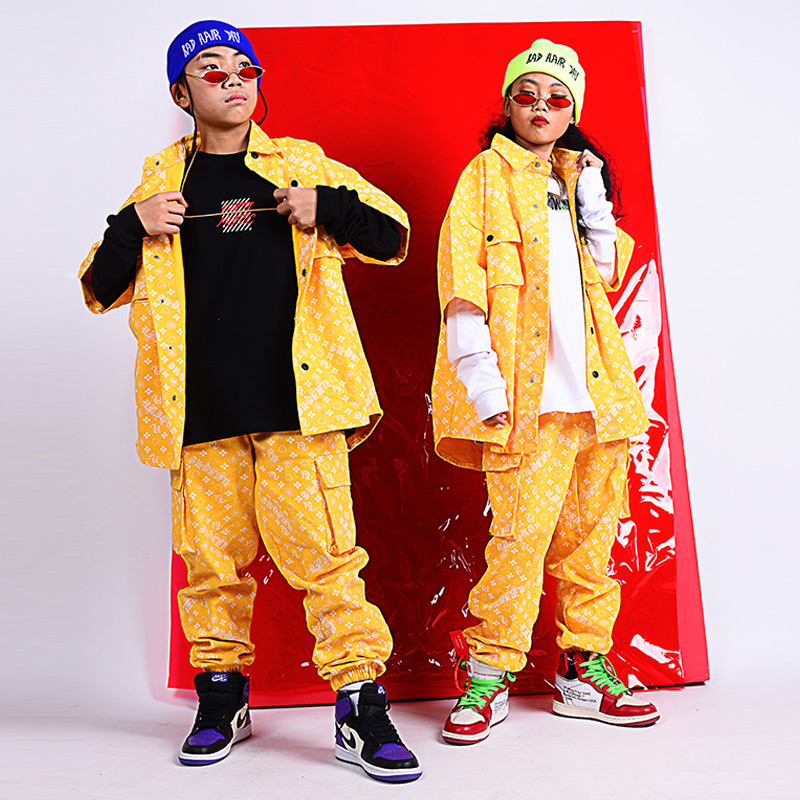 Children'S Hip Hop Street Dance Costumes For Boys Yellow Print Jacket Pants Suit Girls Jazz Dance Performance Clothing DQS2965