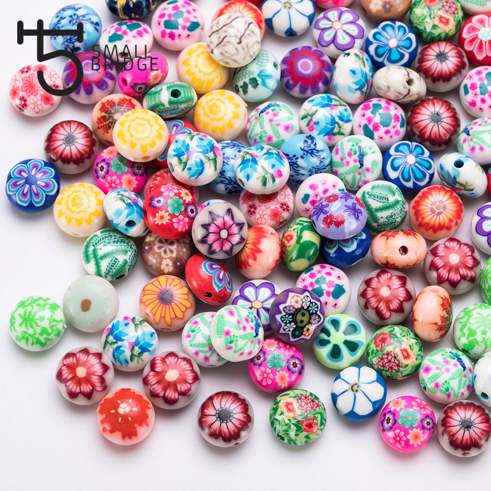 25pcs 12mm Smile Face Fimo Polymer Clay Beads for Jewelry Making Girls Diy Bracelet Perles Loose Round Candy Beads <font><b>C602</b></font> image