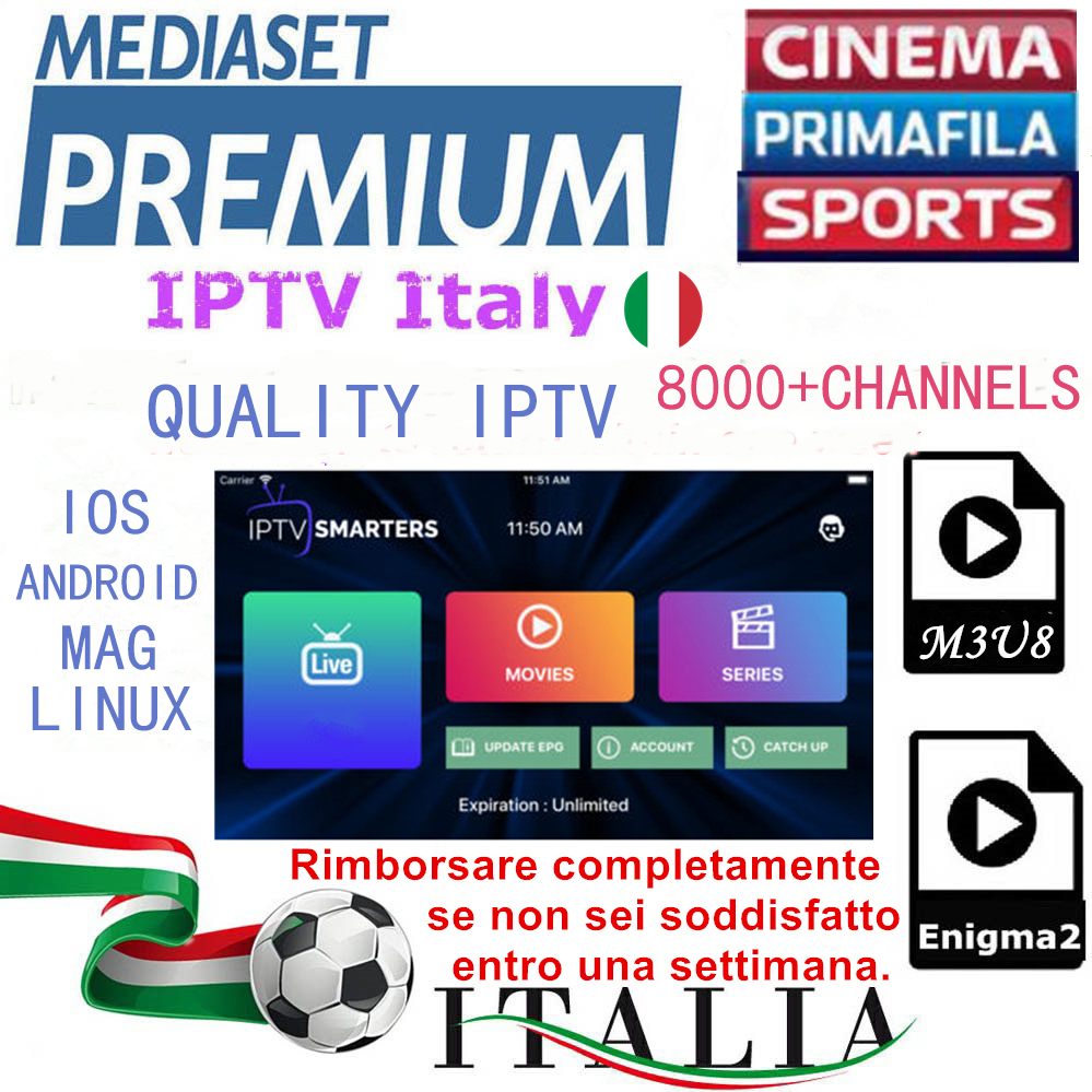 Iptv subscription Italy/Englidh/Spain/Portugal/Russian/US/CANADA/POLAND/SMART TV/Adult 18+/Sports/TV shows M3U/IOS/MAG/ENIGMA2(China)