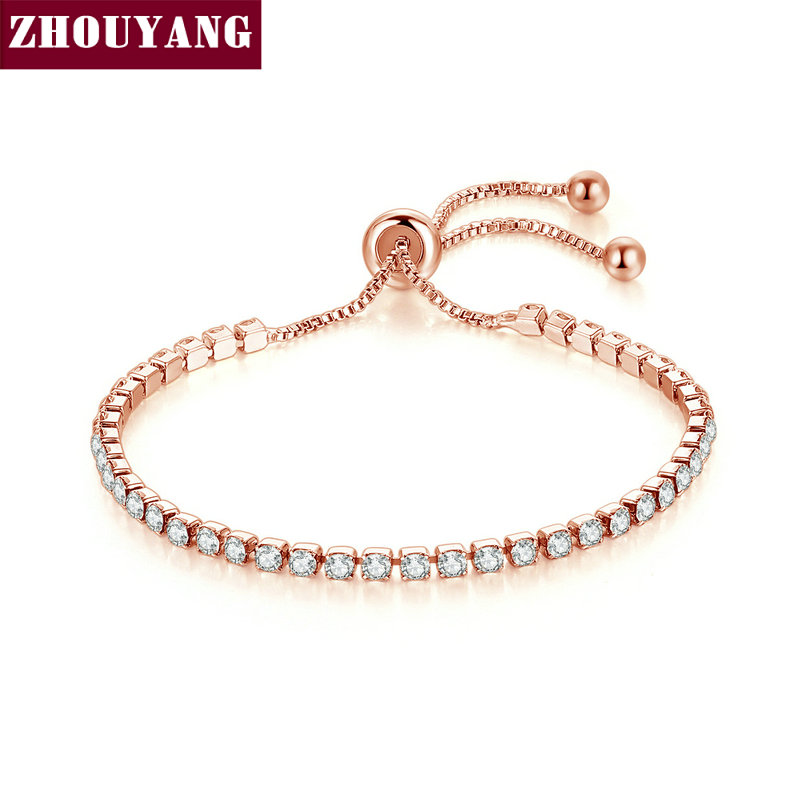 ZHOUYANG Bracelet For Women Luxury Style 4 Color 4 Claws Mosaic Cubic Zirconia Silver Color Fashion Jewelry Gift H095