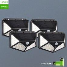 100 led solar lâmpada de parede com 3 modos ao ar livre com sensor movimento solar powered luz solar holofotes para jardim pátio decoração