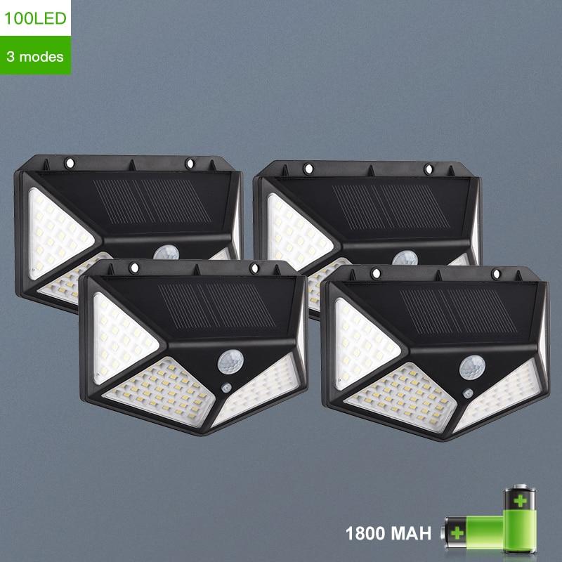 Moderno 100 led solar lâmpada de parede com 3 modos para jardim ao ar livre decoração corpo humano luz indução pátio lâmpada luminárias