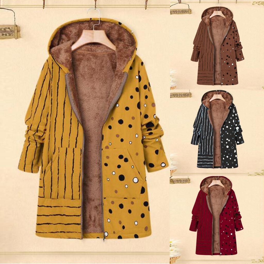 Женское пальто с принтом размера плюс, зимнее теплое винтажное пальто с карманами и капюшоном, женская повседневная верхняя одежда, флисова...