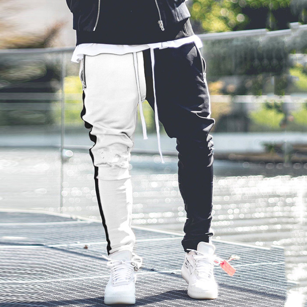 Mens Long Color Block Street Patchwork Zippers Elastic Casual Pencil Pants Joggers Pantalon Homme Streetwear Hip Hop Sweatpants