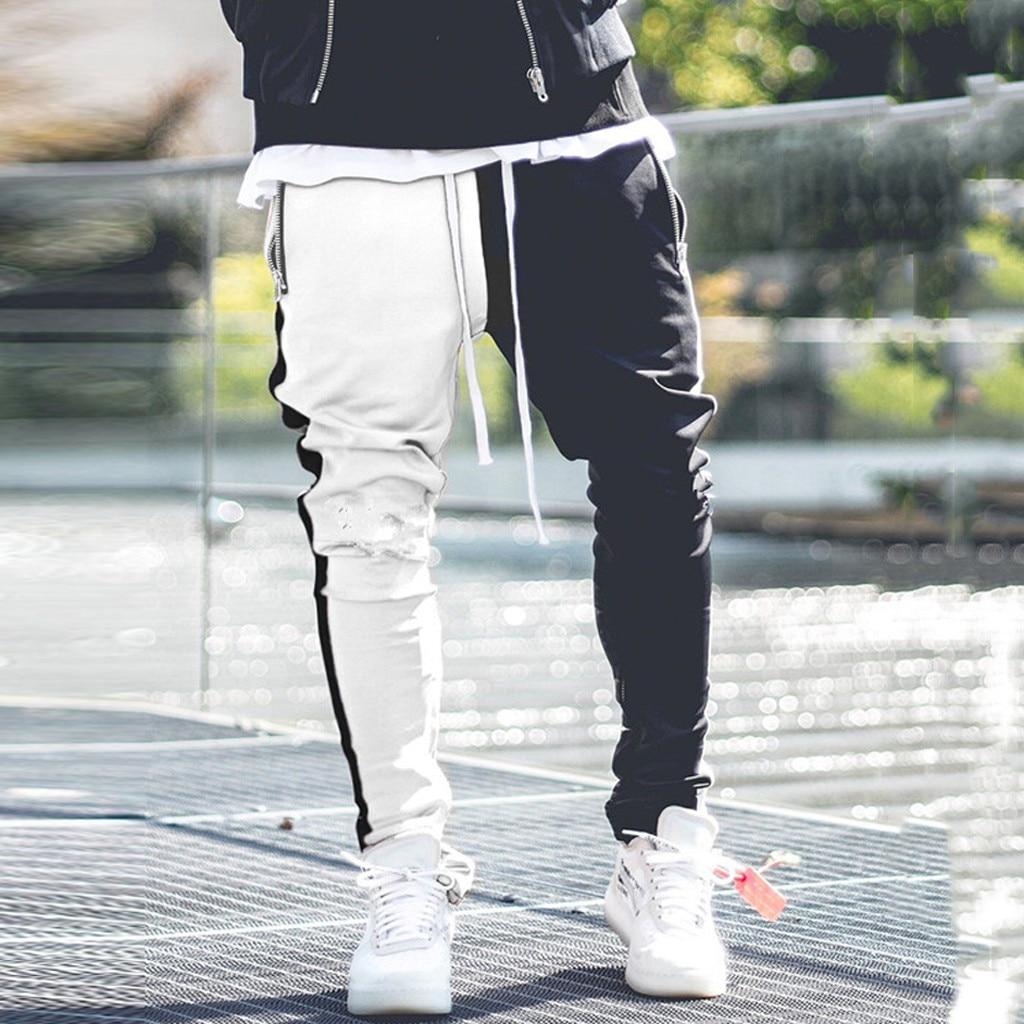 Mens Long Color Block Street Patchwork Zippers Elastic Casual Pencil Pants joggers pantalon homme streetwear hip hop Sweatpants|Skinny Pants| |  - title=