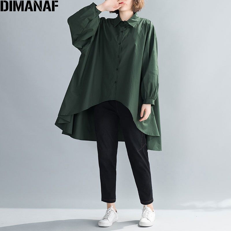 DIMANAF 2020 Plus Size Women Blouse Shirts Oversize Asymmetrical Hems Female Office Lady Cotton Loose Long Sleeve Fashion Solid