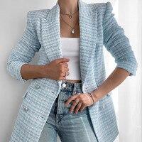 Fashion Casual Zweireiher Tweed Frauen Blazer Mantel 2021 Neue Lange Frühling Herbst Jacken Mäntel Weibliche Chic Büro Dame Tops
